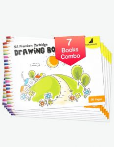 Drawing for Kids   2A Size Drawing Books   36 White Blank Drawing Pages   Drawing Sheets for Drawing, Colouring and Painting   Set of 7 Art Sketchbooks