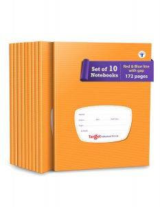 Red and Blue Line with Gap Books | Small Four Line with Gap Books | 172 Ruled Pages | Hard Brown Cover | 15.5 cm x 19 cm Approx | Pack of 10 Notebooks | GSM 58