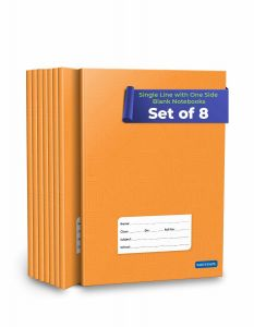 Single Line Interleaf Notebooks | Small One Side Ruled & One Side Blank / Unruled Notebooks | 176 Pages A5 Size | Soft Brown Cover | 18 cm x 24 cm Approx | Pack of 8 Books | Interleaf Copy | GSM 60