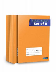 Single Line Notebooks    Long Single Line Copy   72 Ruled Pages A5 Size   Soft Brown Cover   18 cm x 24 cm Approx   Pack of 8 Books   GSM 60
