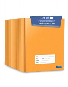 Small Square Ruled Notebooks | Square 9 mm | 72 Pages Jumbo Size | Hard Brown Cover | 15.5 cm x 19 cm Approx | Maths Exercise Small Grid Notebooks | Pack of 18 Books | GSM 60