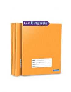 Double Line Notebooks | 176 Ruled Pages | Small Two Line Notebooks | Hard Brown Cover | 15.5 cm x 19 cm Approx | Pack of 5 Books | For School, College and Office Use | GSM 60