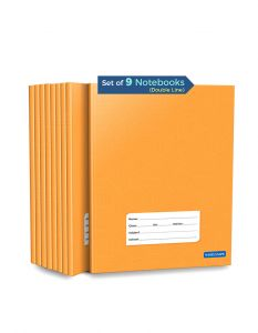 Double Line Notebooks | 72 Ruled Pages | Small Two Line Notebooks | Hard Brown Cover | 15.5 cm x 19 cm Approx | Pack of 9 Books | For School, College and Office Use | GSM 60