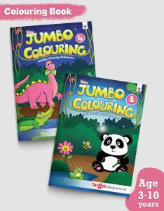 Blossom Jumbo Creative Colouring Books Combo for Kids | 3 to 10 years old | Best Gift to Children for Drawing, Coloring and Painting with Colour Reference Guide | Level 1 and 4 | 2 Books | A3 Size