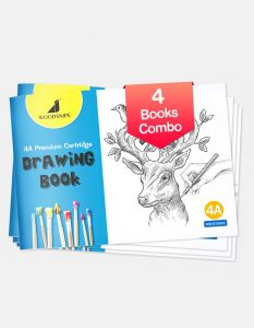 Drawing for Kids | 4A Size Drawing Books | 36 White Blank Drawing Pages | Sketch Books for Drawing, Colouring and Painting | Set of 4 Art Sketchbooks