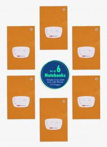 One Side Ruled Small Notebooks for School | 172 Pgs | 6 Books