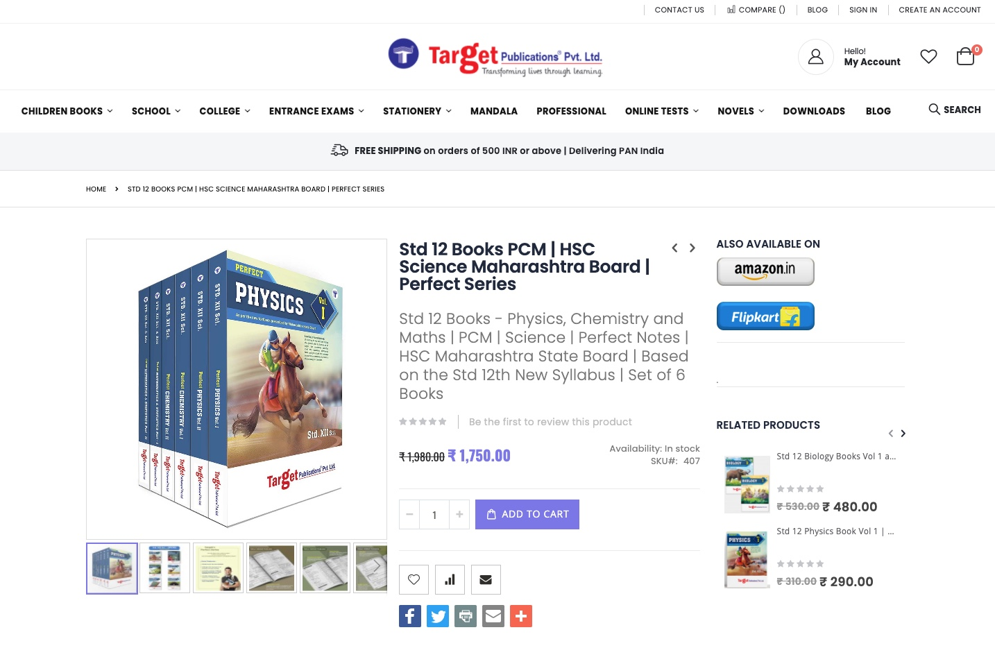 Product Detail Page Screenshot - Target Publications